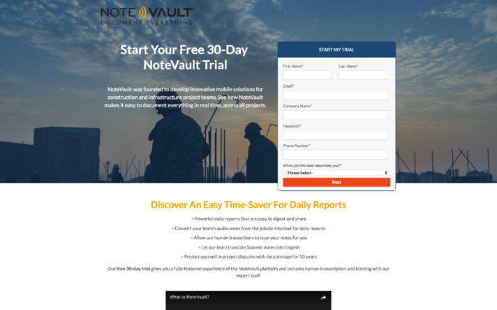NoteVault Landing Page | An Inbound Growth Story: A Third Of The Budget, Quarter Of The Team, Triple The Results