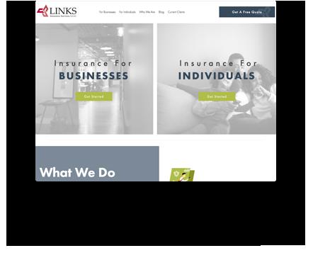 Links Insurance Website Example
