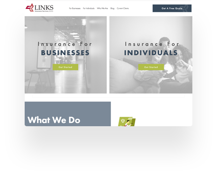 Links Insurance Website Example